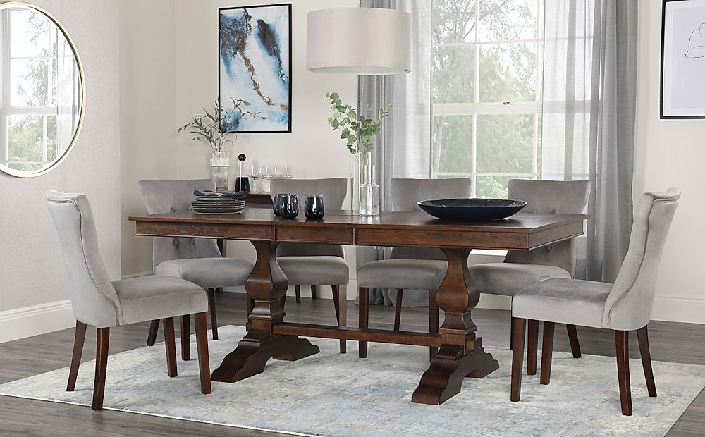 Cavendish Dark Wood Extending Dining Table with 6 Bewley Grey Velvet Chairs