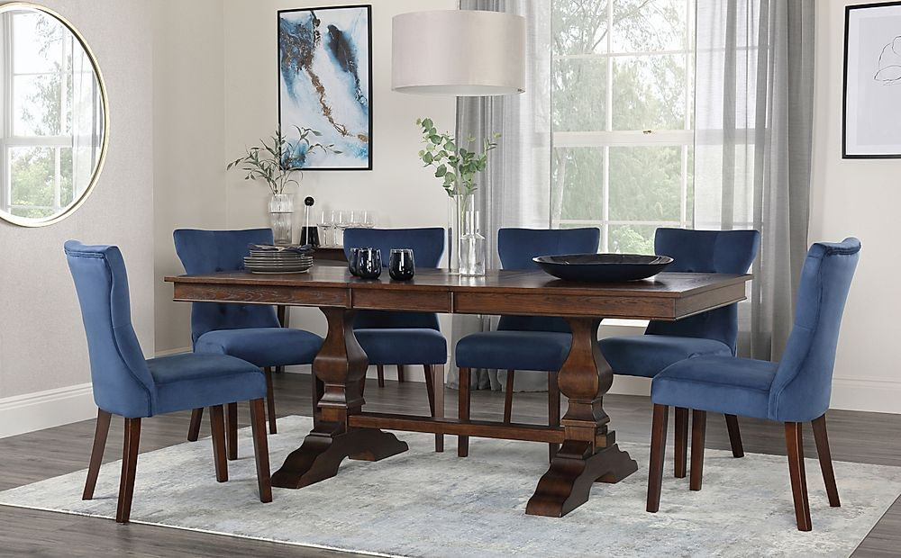 Cavendish Walnut Extending Dining Table with 6 Bewley Blue Velvet Chairs