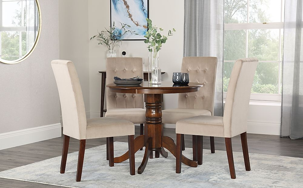 Kingston Round Dark Wood Dining Table with 4 Regent Mink Velvet Chairs