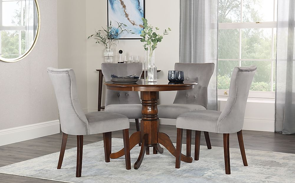 Kingston Round Walnut Dining Table with 4 Bewley Grey Velvet Chairs