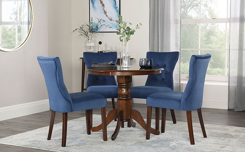 Kingston Round Walnut Dining Table with 4 Bewley Blue Velvet Chairs