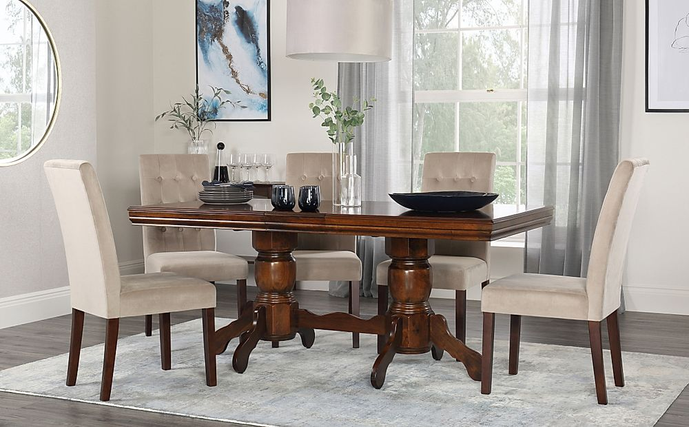 Chatsworth Dark Wood Extending Dining Table with 4 Regent Mink Velvet Chairs