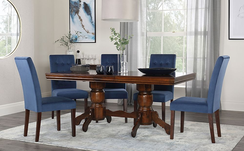 Chatsworth Walnut Extending Dining Table with 6 Regent Blue Velvet Chairs