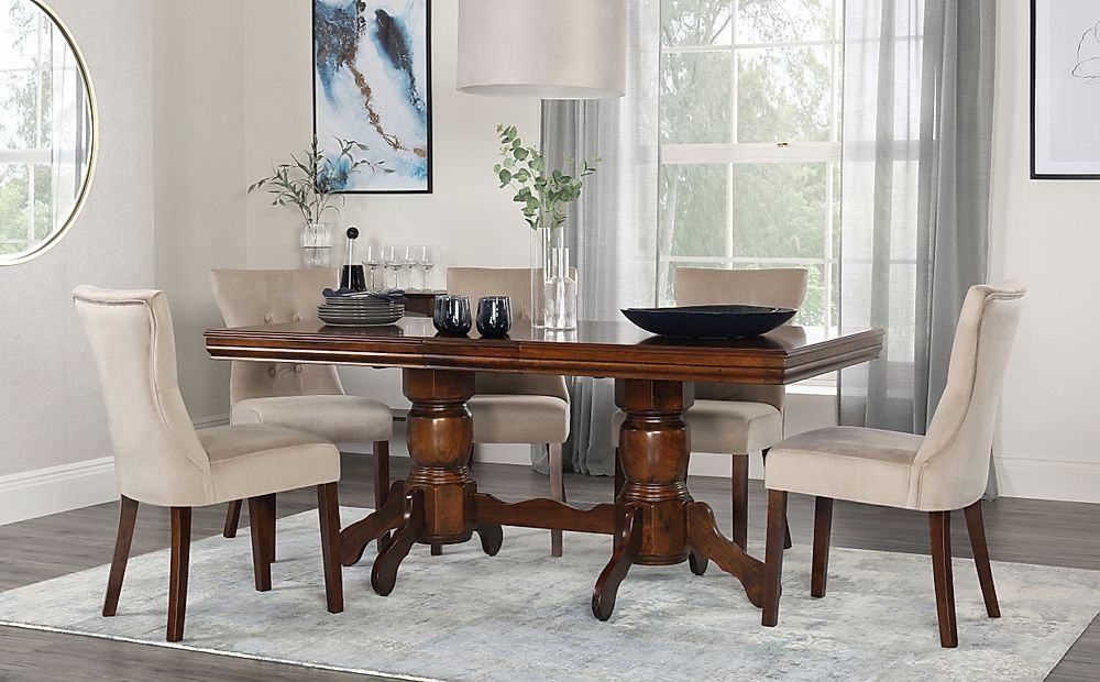 Chatsworth Walnut Extending Dining Table with 6 Bewley Mink Velvet Chairs