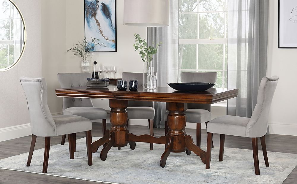 Chatsworth Walnut Extending Dining Table with 6 Bewley Grey Velvet Chairs