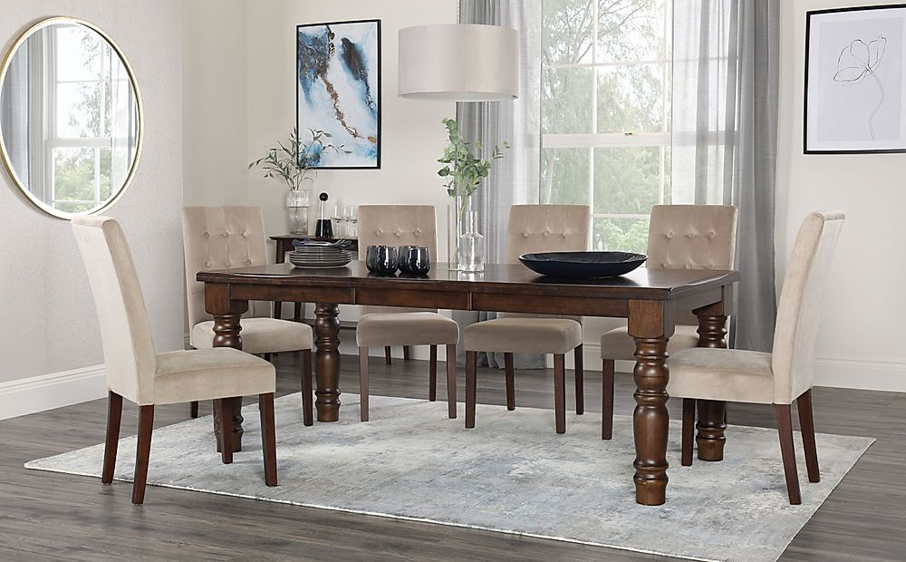 Hampshire Dark Wood Extending Dining Table with 8 Regent Mink Velvet Chairs