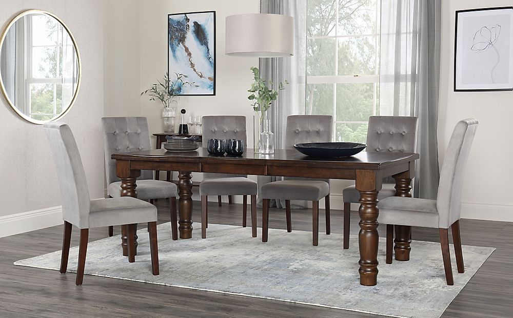 Hampshire Walnut Extending Dining Table with 4 Regent Grey Velvet Chairs