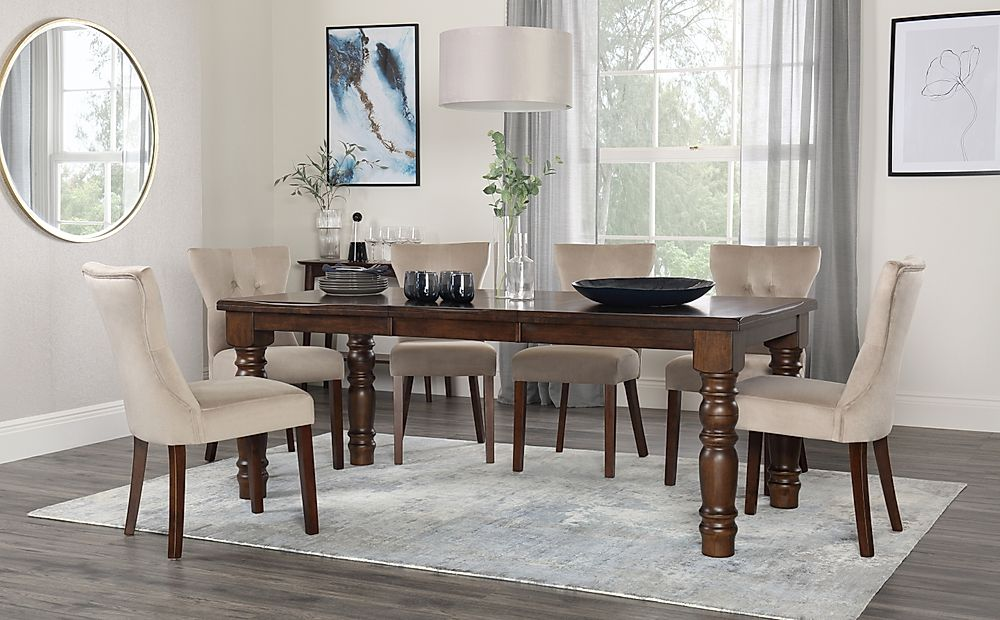 Hampshire Dark Wood Extending Dining Table with 8 Bewley Mink Velvet Chairs