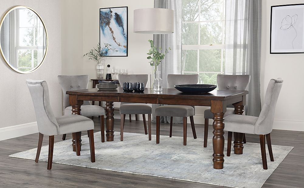 Hampshire Dark Wood Extending Dining Table with 8 Bewley Grey Velvet Chairs