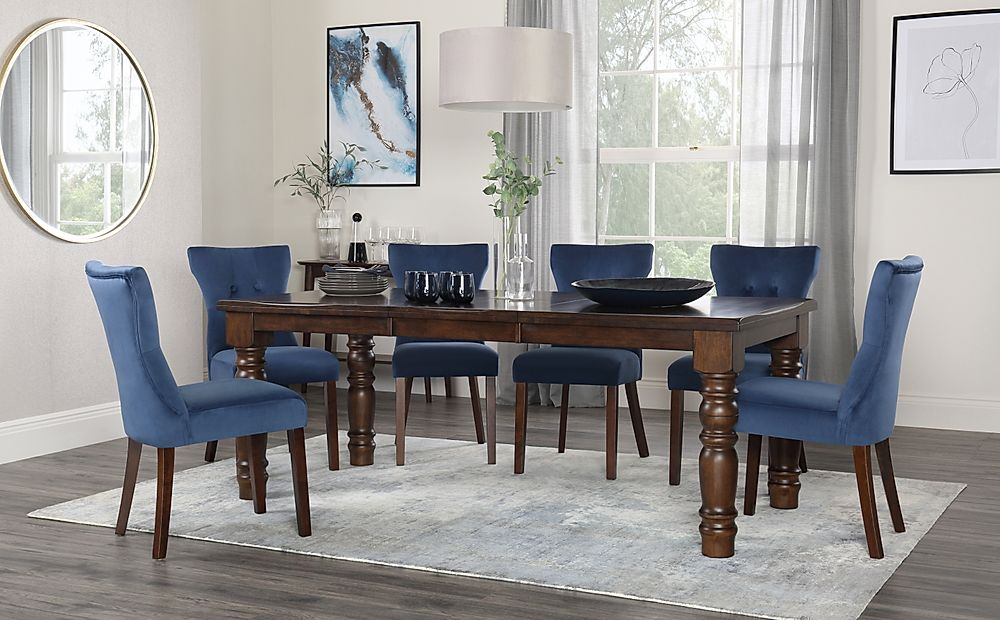Hampshire Dark Wood Extending Dining Table with 6 Bewley Blue Velvet Chairs