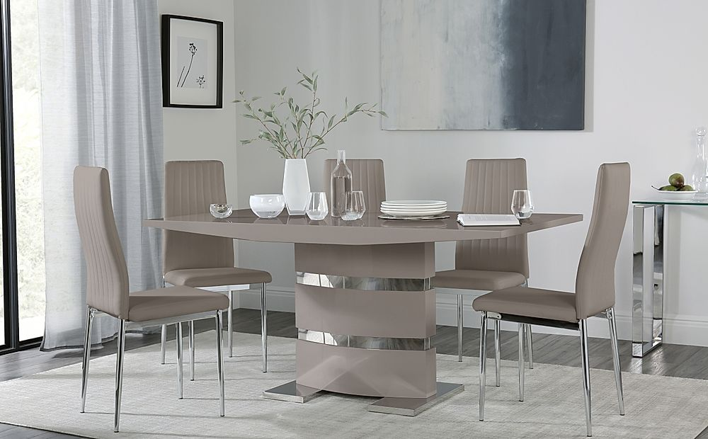 Komoro Taupe High Gloss Dining Table with 4 Leon Taupe Leather Chairs
