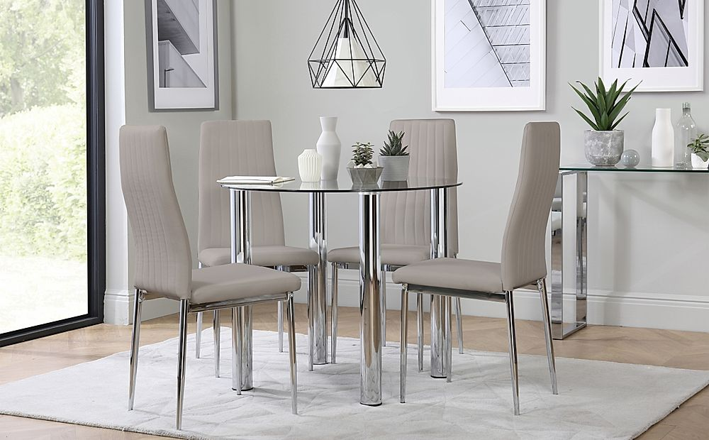 Solar Round Chrome and Glass Dining Table with 4 Leon Taupe Chairs