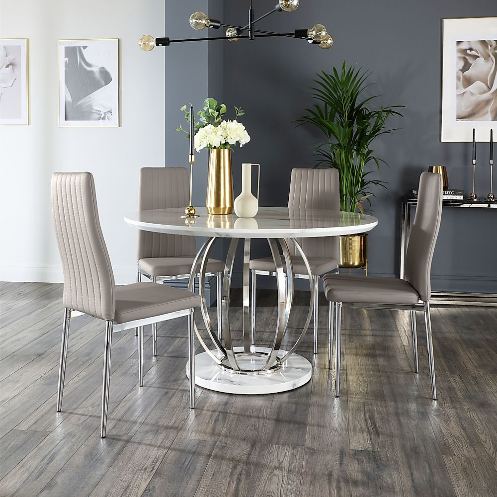 Savoy Round White Marble and Chrome Dining Table with 4 Leon Taupe Leather Chairs