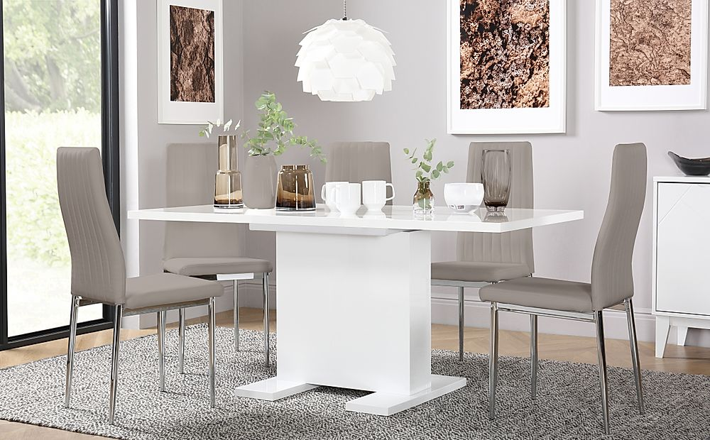 Osaka White High Gloss Extending Dining Table with 4 Leon Taupe Leather Chairs