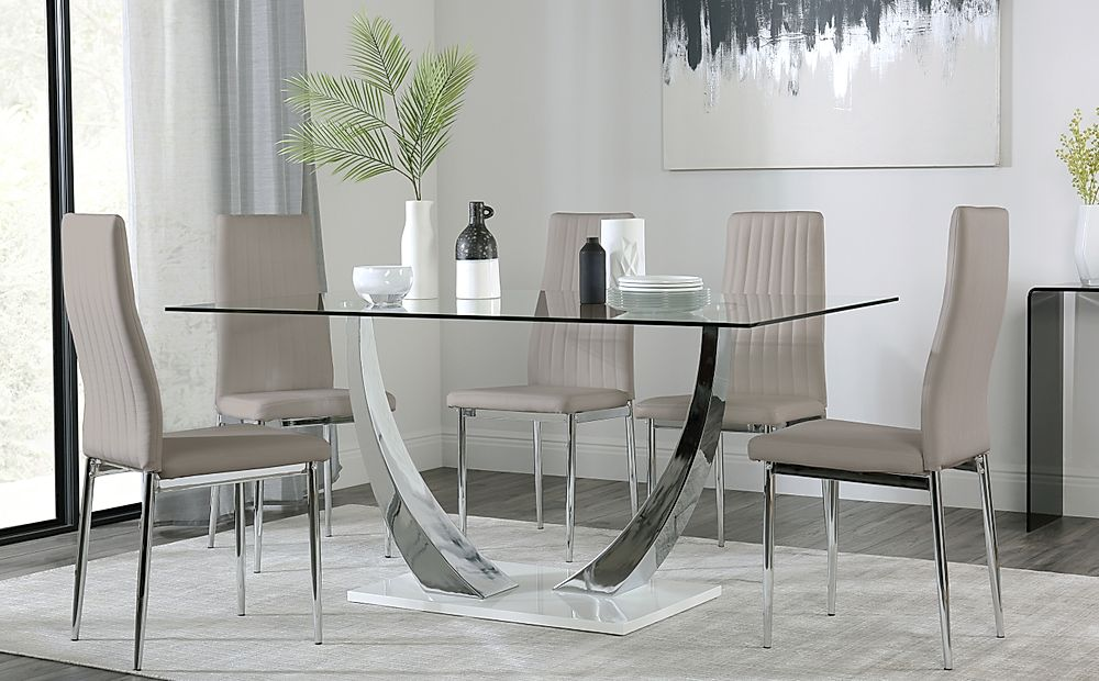 Peake Glass and Chrome Dining Table (White Gloss Base) with 6 Leon Taupe Leather Chairs