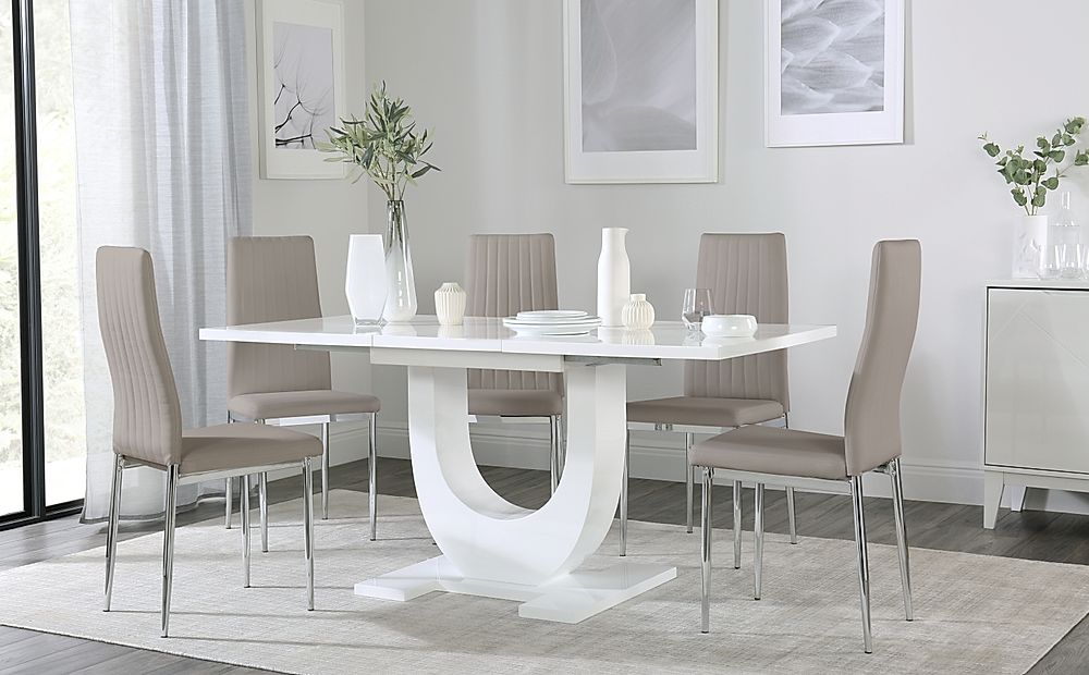 Oslo White High Gloss Extending Dining Table with 4 Leon Taupe Dining Chairs