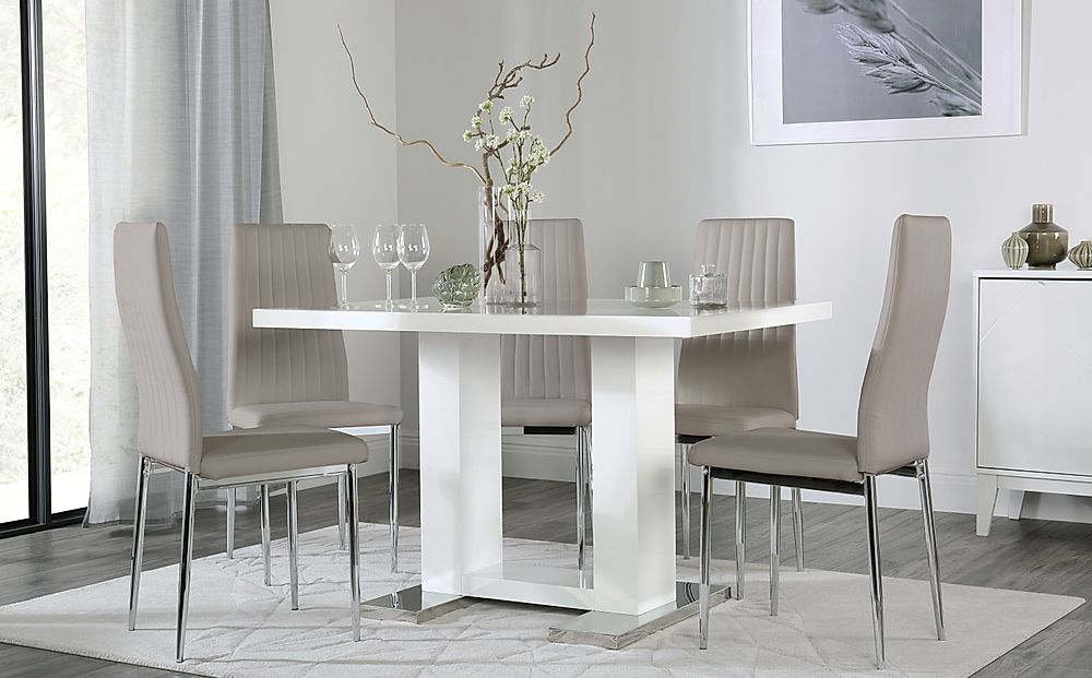 Joule White High Gloss Dining Table with 4 Leon Taupe Leather Chairs