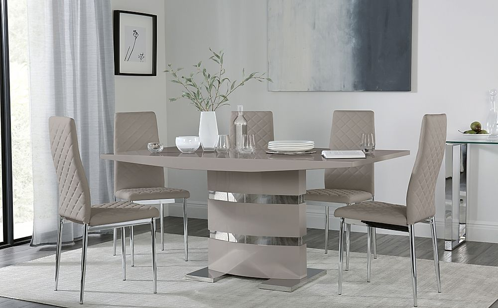 Komoro Taupe High Gloss Dining Table with 4 Renzo Taupe Leather Chairs