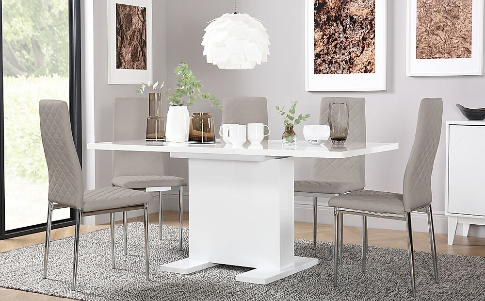Osaka White High Gloss Extending Dining Table with 6 Renzo Taupe Leather Chairs