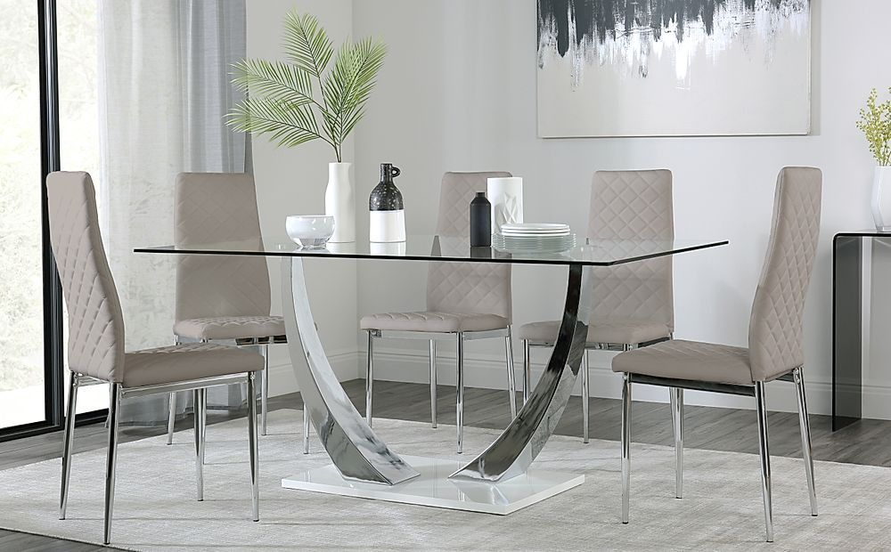 Peake Glass and Chrome Dining Table (White Gloss Base) with 4 Renzo Taupe Chairs