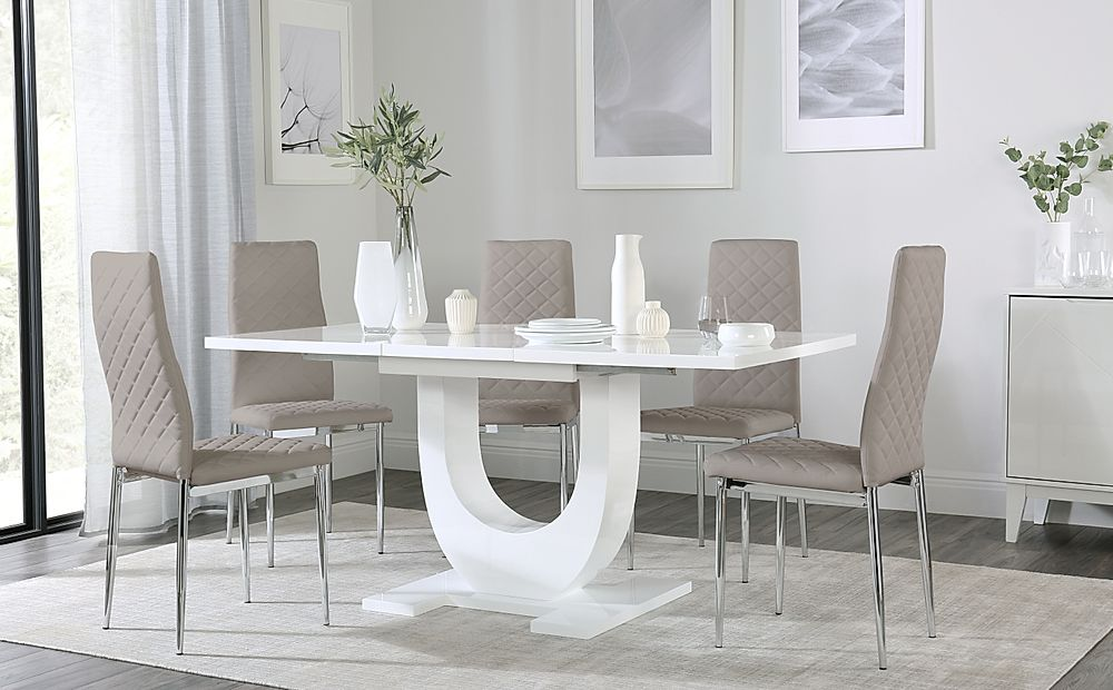 Oslo White High Gloss Extending Dining Table with 6 Renzo Taupe Leather Chairs