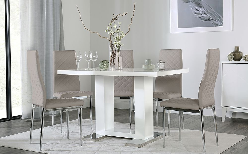 Joule White High Gloss Dining Table with 6 Renzo Taupe Leather Chairs