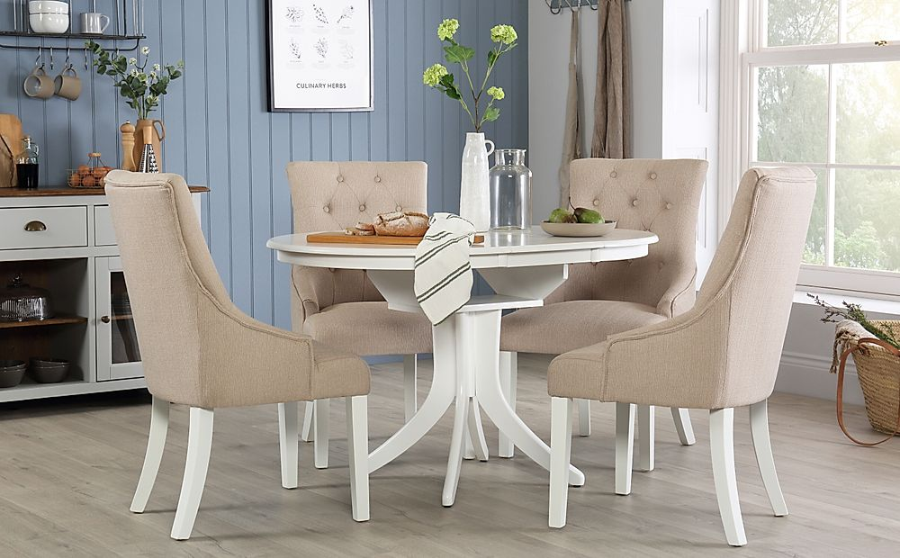 Hudson Round White Extending Dining Table with 4 Duke Oatmeal Chairs