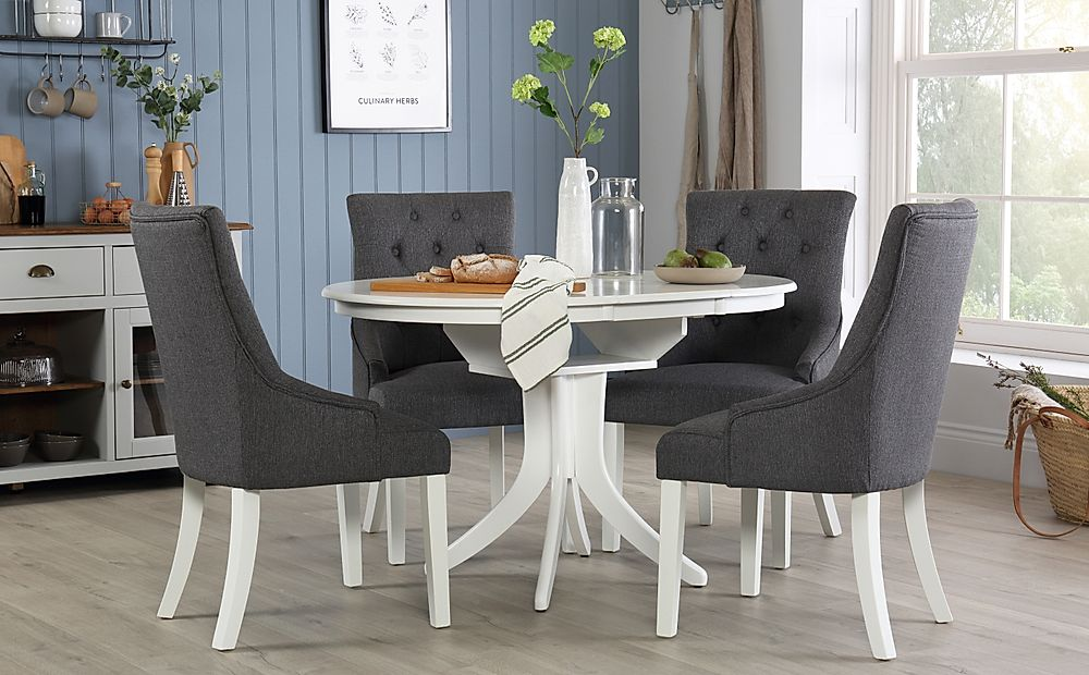 Hudson Round White Extending Dining Table with 4 Duke Slate Chairs
