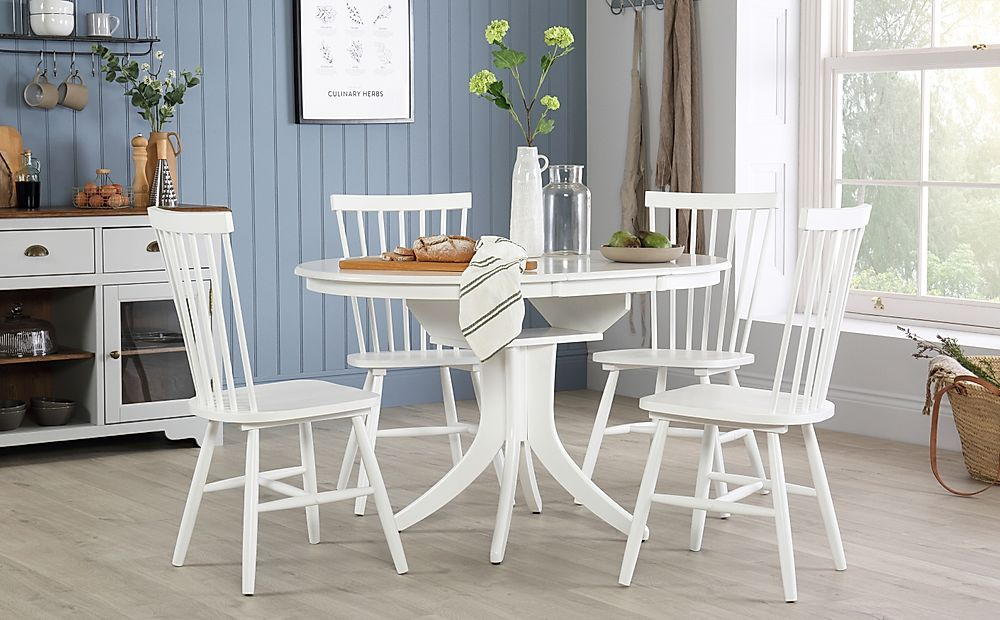 Hudson Round White Extending Dining Table with 6 Pendle Chairs