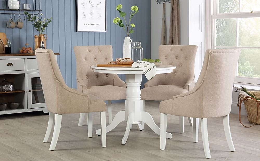 Kingston Round White Dining Table with 4 Duke Oatmeal Chairs