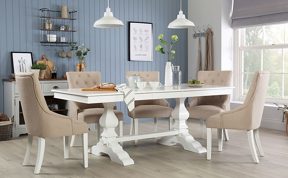 Cavendish White Extending Dining Table with 8 Duke Oatmeal Chairs