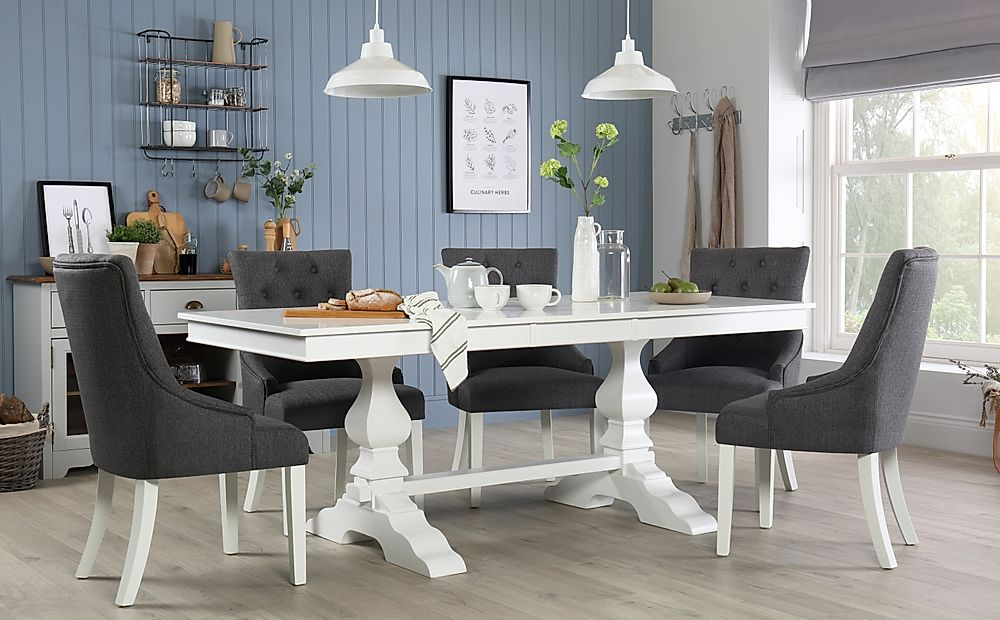 Cavendish White Extending Dining Table with 8 Duke Slate Fabric Chairs