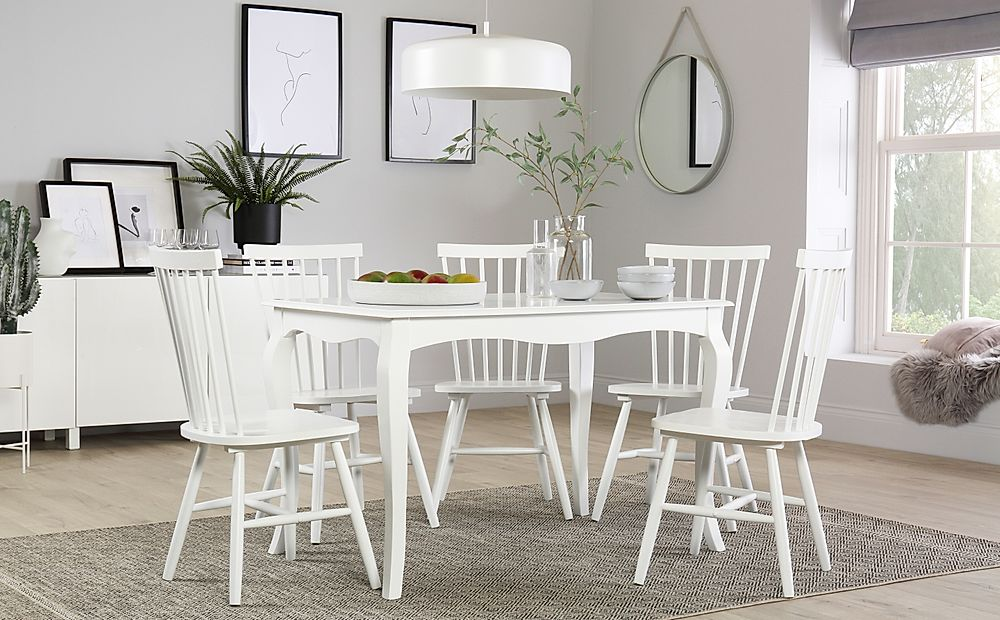 Clarendon White Dining Table with 4 Pendle Chairs
