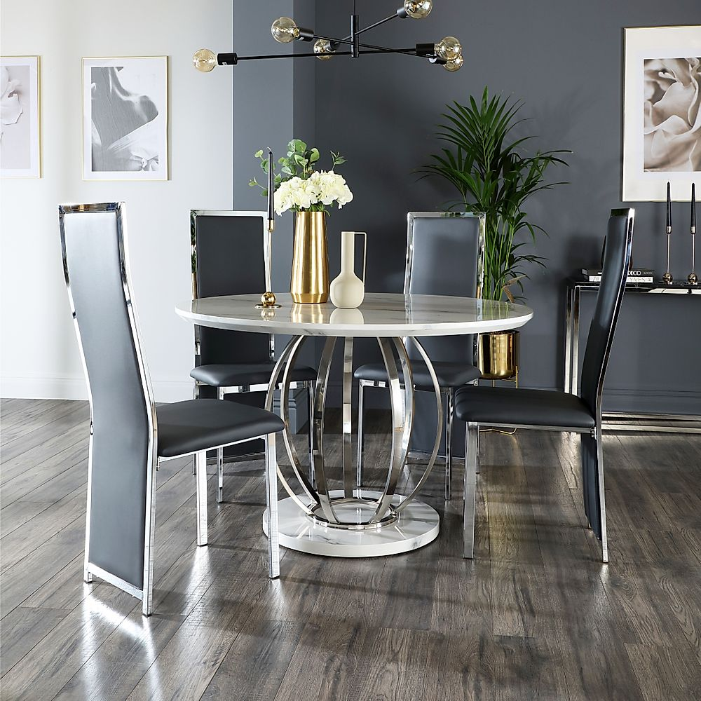 Savoy Round White Marble and Chrome Dining Table with 4 Celeste Grey Leather Chairs