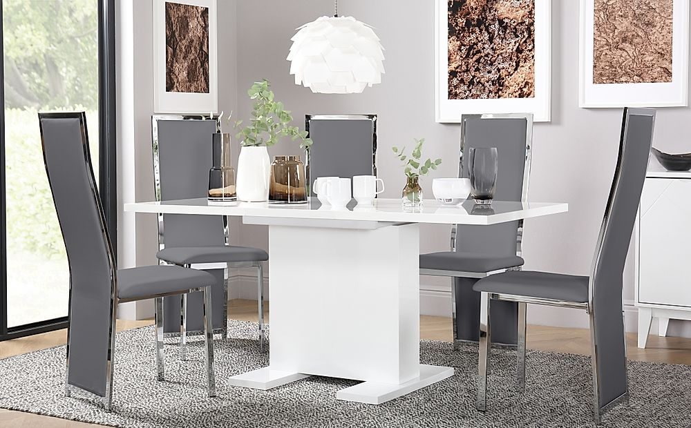 Osaka White High Gloss Extending Dining Table with 4 Celeste Grey Leather Chairs