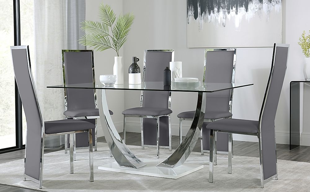 Peake Glass and Chrome Dining Table White Gloss Base with 4 Celeste Grey Chairs