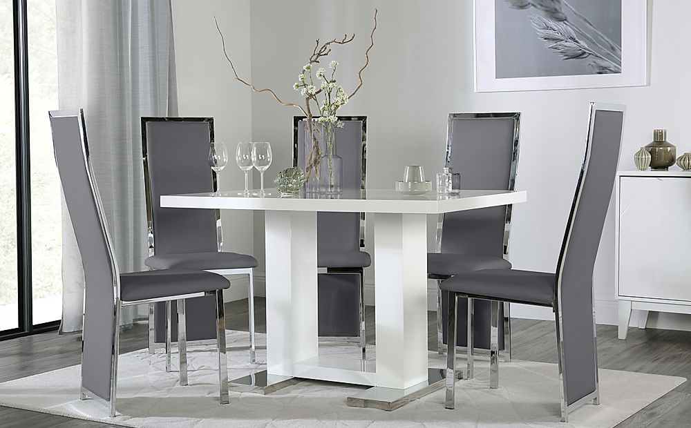 Joule White High Gloss Dining Table with 6 Celeste Grey Leather Chairs