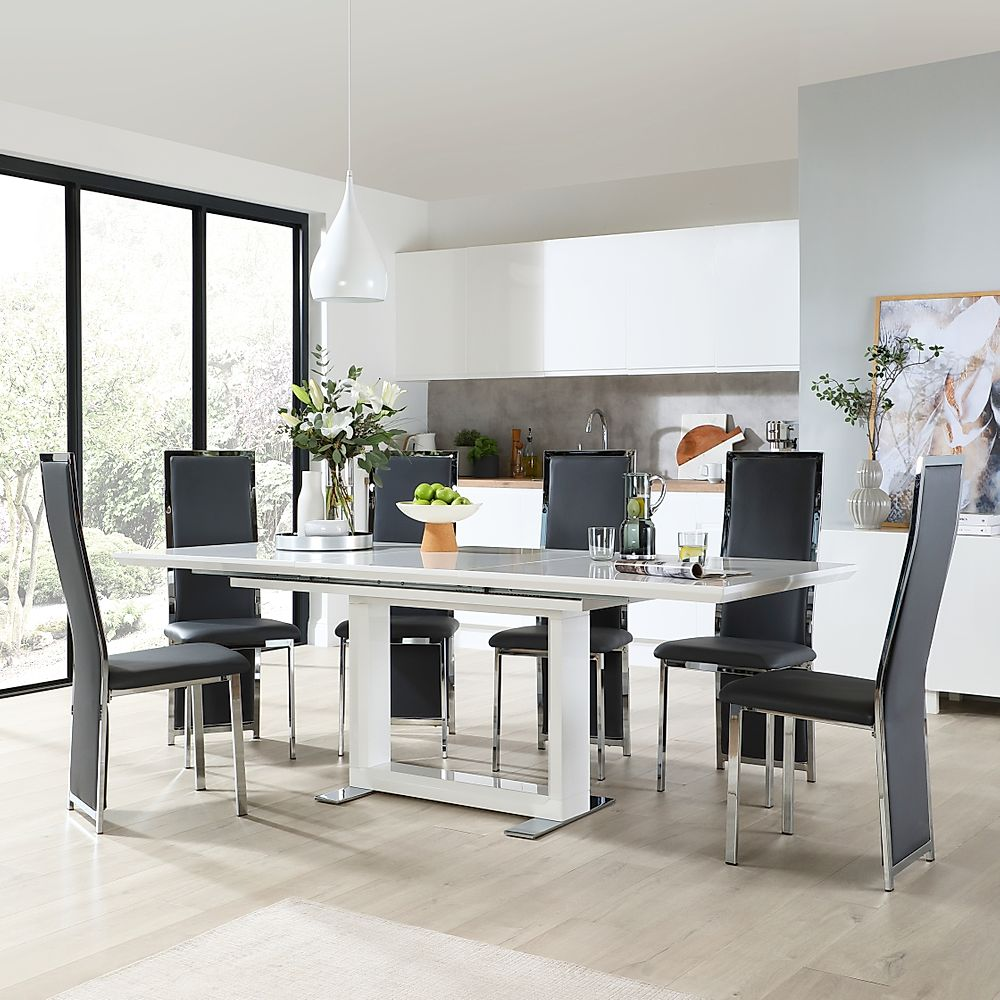 Tokyo White High Gloss Extending Dining Table with 6 Celeste Grey Leather Chairs