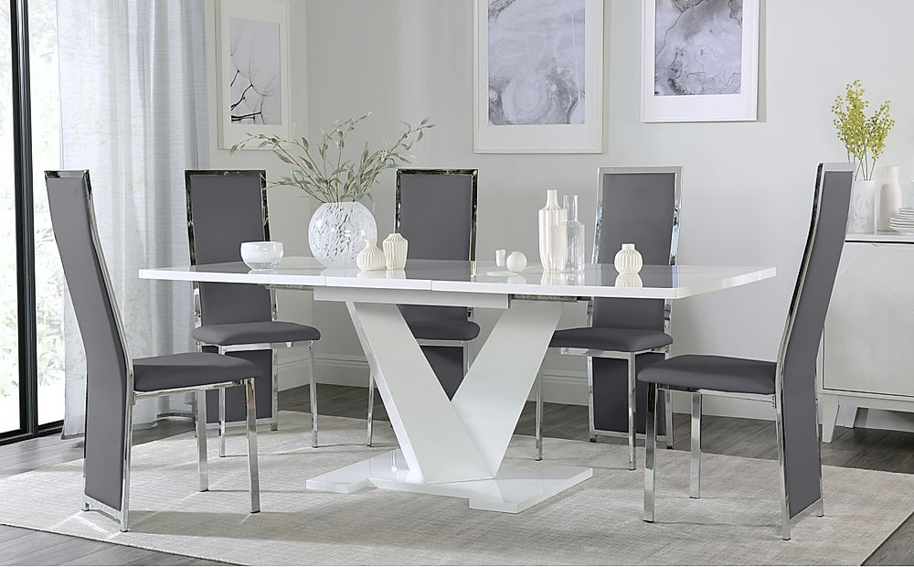 Turin White High Gloss Extending Dining Table with 6 Celeste Grey Dining Chairs