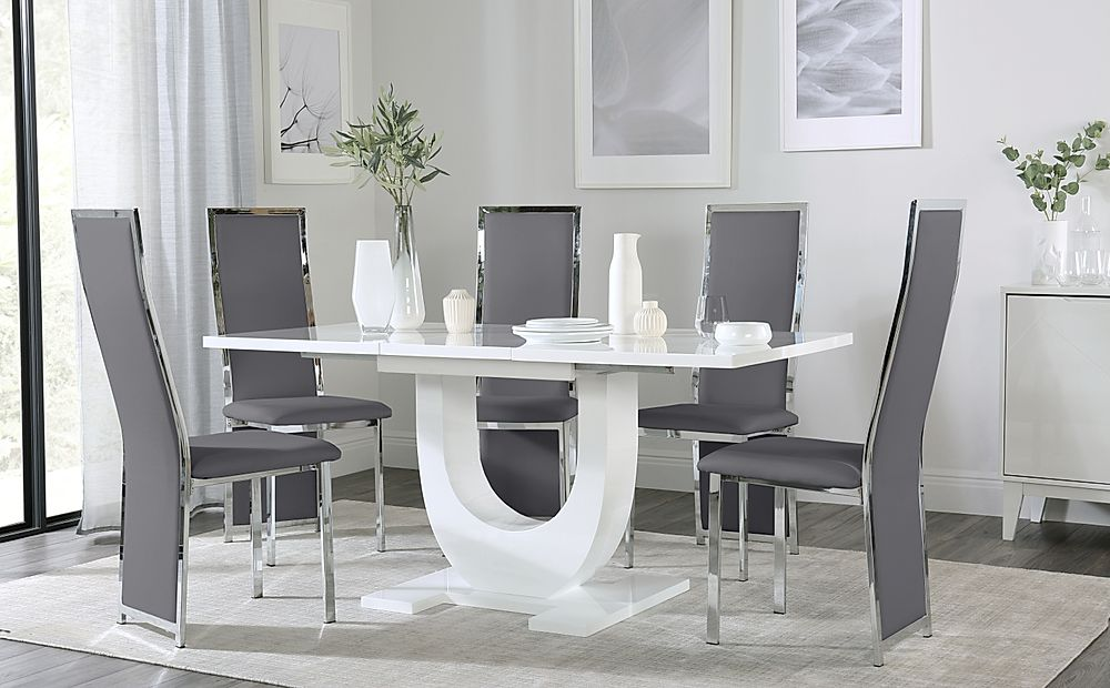 Oslo White High Gloss Extending Dining Table with 6 Celeste Grey Leather Chairs