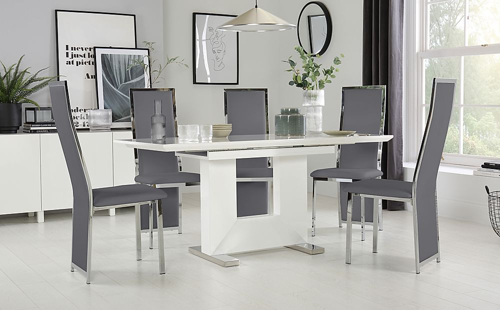 Florence White High Gloss Extending Dining Table with 6 Celeste Grey Leather Chairs