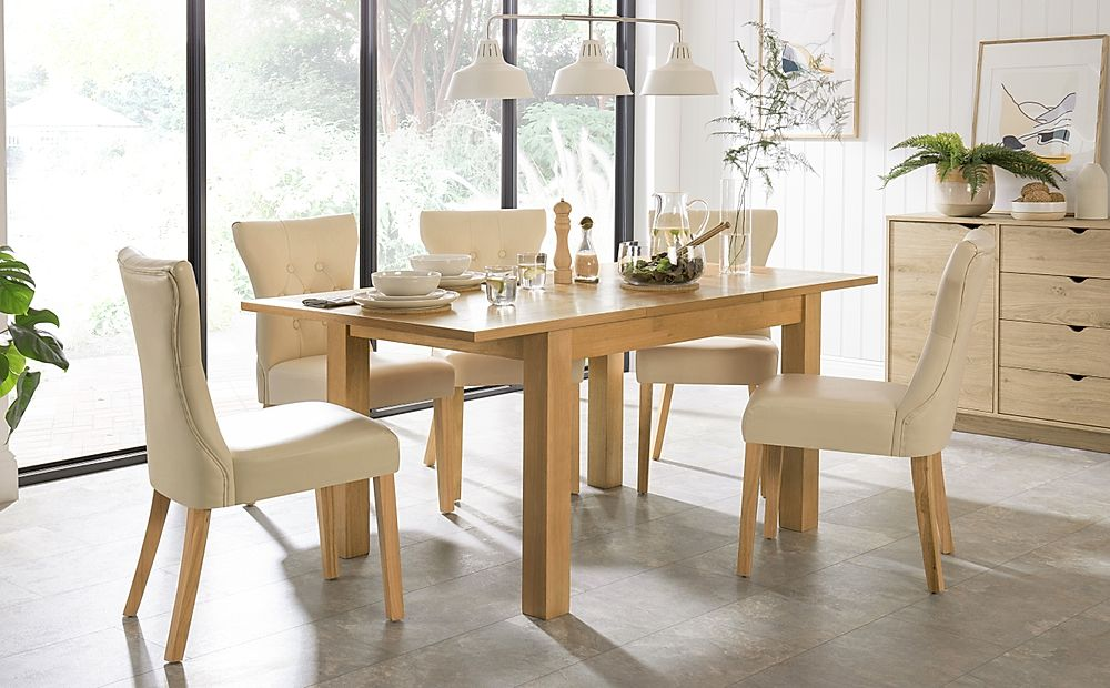Hamilton 120-170cm Oak Extending Dining Table with 6 Bewley Ivory Leather Chairs