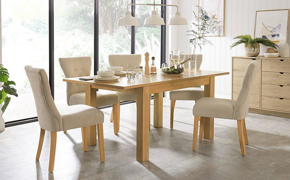 Hamilton 120-170cm Oak Extending Dining Table with 4 Bewley Oatmeal Fabric Chairs