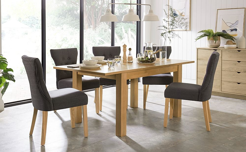 Hamilton 120-170cm Oak Extending Dining Table with 4 Bewley Slate Fabric Chairs