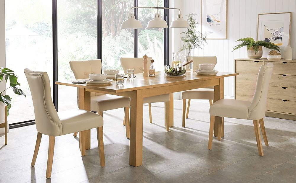 Hamilton 150-200cm Oak Extending Dining Table with 4 Bewley Ivory Leather Chairs