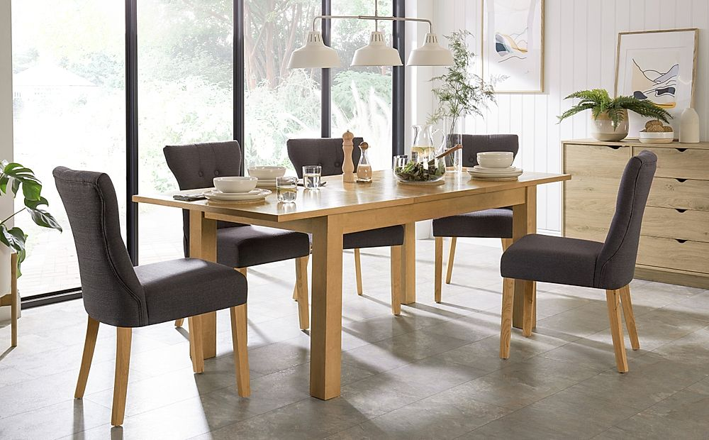 Hamilton 150-200cm Oak Extending Dining Table with 6 Bewley Slate Fabric Chairs