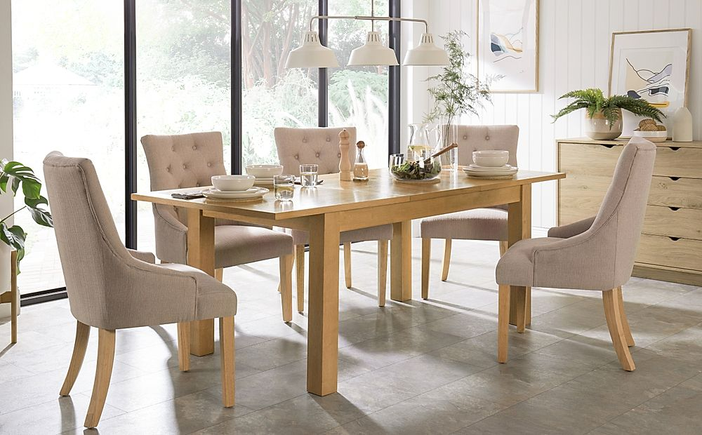 Hamilton 150-200cm Oak Extending Dining Table with 6 Duke Oatmeal Fabric Chairs