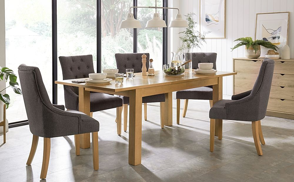 Hamilton Oak 150-200cm Extending Dining Table with 6 Duke Slate Fabric Chairs