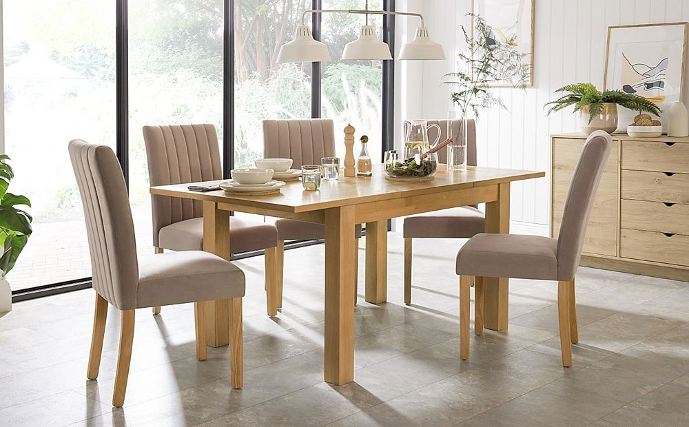Hamilton 120-170cm Oak Extending Dining Table with 6 Salisbury Mink Velvet Chairs