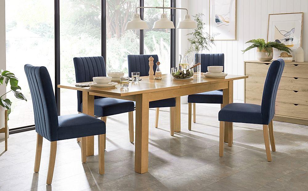 Hamilton Oak 150-200cm Extending Dining Table with 4 Salisbury Blue Velvet Chairs